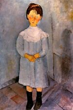LITTLE GIRL IN BLUE STANDING IN THE CORNER 1918 PAINTING BY MODIGLIANI REPRO