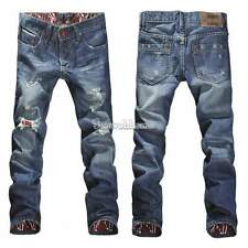 Mens Jeans Fashion Torn Jeans Pant Ripped Holey Straight Leg Slim Cut