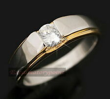 18k White Gold Plated Made With Swarovski Crystal Men's Wedding Ring Band R82
