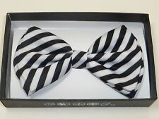 New Tuxedo Wedding Adjustable Strap PreTied Bow Tie Black Stripe  US SELLER