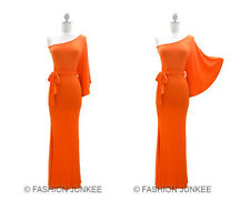 I2 ORANGE KIMONO DRESS LONG One Shoulder Belted Full Length Cocktail Sexy S M L