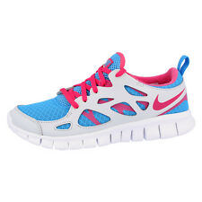 NIKE FREE RUN 2.0 GS RUNNING SHOES TRAINERS BLUE PINK GREY 477701-400