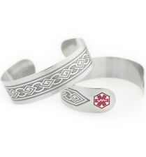 Medical ID Antique Tribal Cuff Stainless -Diabetes OR Coumadin