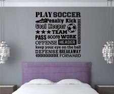 Play Soccer Vinyl Decal Wall Stickers Words Letters Sports Teen Room Decor