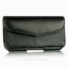 New Black Leather Pouch Holster Case with Belt Clip for Cell Phones - Velcro