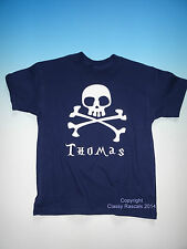 CLASSY RASCALS Personalised Pirate Tee T Shirt Boys Party Gift Designer Bespoke