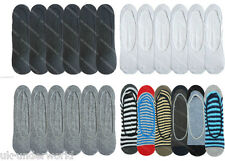 6 pairs mens invisible trainer liner socks no show secret footsies adults 6-11