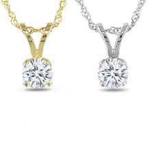 1/4CT Natural Round Solitaire IGI Certified Pendant 14K White and Yellow Gold
