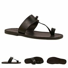 Handmade black genuine leather thong sandals for mens Made in Italy