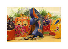 BN - Colourful Recycled Goat Leather Money Box - Handmade Animal Moneybox