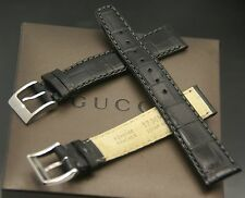 New Gucci 17 MM Black Alligator Pattern on Genuine Leather Watch Band  (17.115)