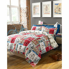 #BEDDING CYCLIST VINTAGE DUVET COVER Retro Patchwork Cream Red Blue Bedding Set