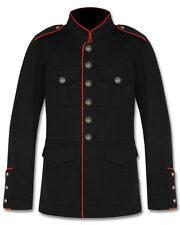 Tripp NYC Mens Military Jacket Black Red Goth Steampunk Army Officer Pea Coat