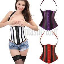 Women Striped Boned Sexy Underbust Corset Bustier Top Lingerie Plus Size S-6XL T
