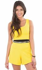 Hidden Fashion Womens Yellow Ribbed Keyhole Cut Out Backless Playsuits/Rompers
