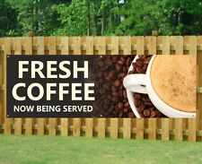 FRESH COFFEE PVC Banner Outdoor/Indoor Catering Sign Restaurant Eyelets