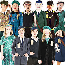1940s Evacuee Kids Fancy Dress WW2 40s Childrens Boys Girls Costumes Outfits New
