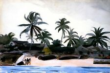 KEY WEST NEGRO CABINS AND PALMS 1898 BEACH PAINTING BY WINSLOW HOMER REPRO