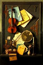 THE OLD CUPBOARD DOOR 1889 VIOLIN SCORE BOOK PAINTING BY WILLIAM HARNETT REPRO