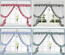 GINGHAM CHECK KITCHEN CURTAINS - Ready Made Slot Top White Net Curtain Set