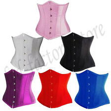 M2 Pure Busk Boned Lace Up Satin Corset Waist Trainer Bustier Top Plus S-6XL