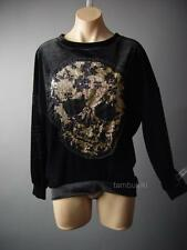 Black Velvet Gold Sequin Design Skull Glam Rock Pullover Top 61 mv Shirt S M L