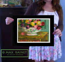 FRESH FLOWERS in Bowl : Impressionist Painting Still Life Fine Art Print SIGNED