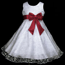 UsaG Light,Deep Red White w329 Bridesmaid Wedding Party Flower Girls Dress 2-12y