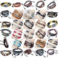 Fashion Handmade Infinity Rudder Love Heart charms leather Suede Wrap bracelet
