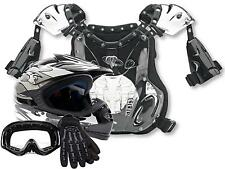 YOUTH Motocross Dirtbike ATV Gear Helmet Gloves Goggles Chest Protector SILVER