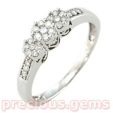"9ct White Gold 0.25ct Diamond ""Trilogy Clusters"" Ring ~ Retail £250!"