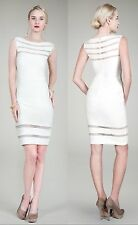 $328 Tadashi Shoji Sleeveless Illusion Pintuck Jersey Ponte Ivory Sheath Dress L