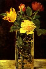 ROSES AN TULIPS VASE SINUOUS SHAPE OF DRAGON FLOWERS PAINTING BY MANET REPRO