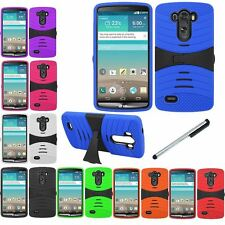 For LG G 3 F400 Deluxe Kickstand Impact Hybrid Case Phone Cover + Stylus