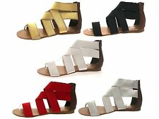 Womens Elastic Strap Gladiator Summer Sandals Ladies Flat Shoes Size UK 3 - 8