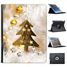 Gold Christmas Tree Decoration Bells & Stars Leather Case For iPad 2, 3 & 4
