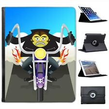 Zombie Monster Riding Motorcycle Flaming Exhaust Leather Case For iPad 2, 3 & 4