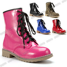 Womens Ladies Patent Leather Mid Calf Low Heel Military Lace Up Combat Boots
