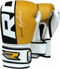 Auth RDX Leather Gel Boxing Gloves Fight,Punch Bag MMA Muay Thai Grappling Pad Y