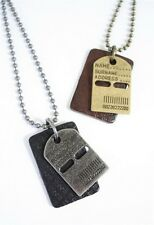 NEW Leather Men's Metal Dog Tag Pendant Surfer Necklace Choker Chain