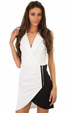 Hidden Fashion Womens Ruched Wrap Front Collared Notch Lapelled Scuba Dresses