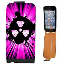 Grunge Nuke Pink Black Leather Flip Case for Apple iPhone 5s