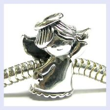 Sterling Silver Dancing Waving Angel with Halo Bead for European Charm Bracelet
