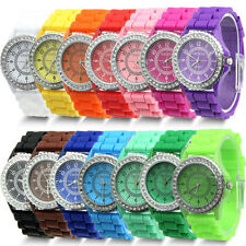 Fashion Women Bling Diamond Crystal Geneva Silicone Rubber Jelly Watch Gifts