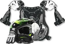 Adult Motocross Dirt Bike ATV Gear Helmet Gloves Goggles Chest Protector Green