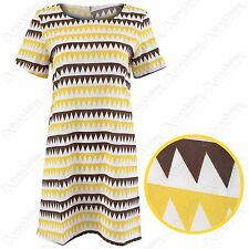 NEW LADIES AZTEC ZIG ZAG PRINT DRESS WOMEN TUNIC CELEB LOOK SHIFT DRESSES TOP