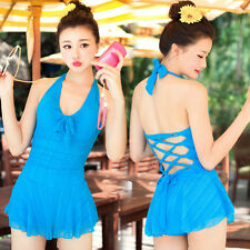 One Piece Halter Padded Ruched Blue Slim Swimdress Tankini with attached bottom