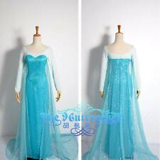 PD16 - S M L XL 1X 2X 3X Frozen Queen Elsa Cosplay Gown Adult Woman Dress Blue