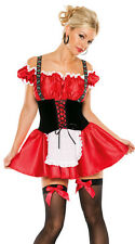 New Sexy German Fraulein Sweetheart Girl Beer Maid Adult Halloween Costume Red