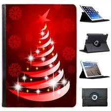 Red Modern Art Christmas Tree with Snowflake Folio Leather Case For iPad Air
